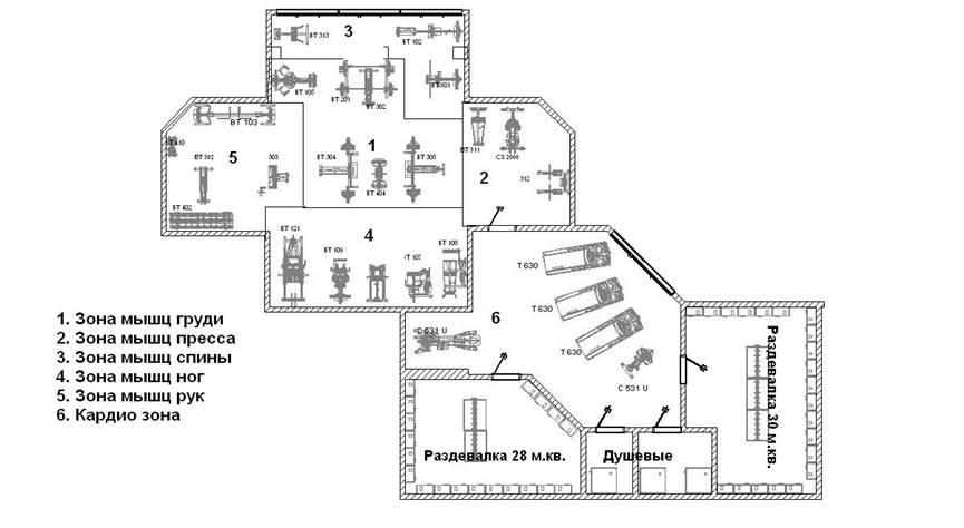 План помещения для тренажерного зала