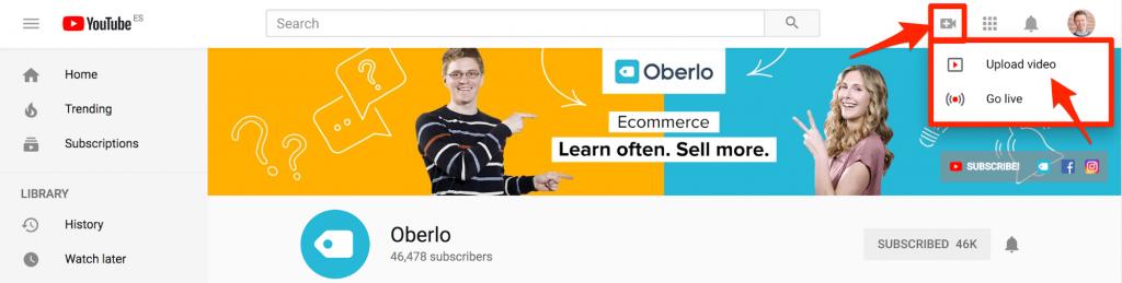 Загрузите видеообъявление на YouTube