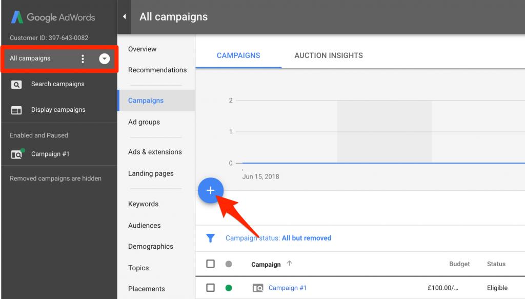 Создайте новую кампанию в Google AdWords
