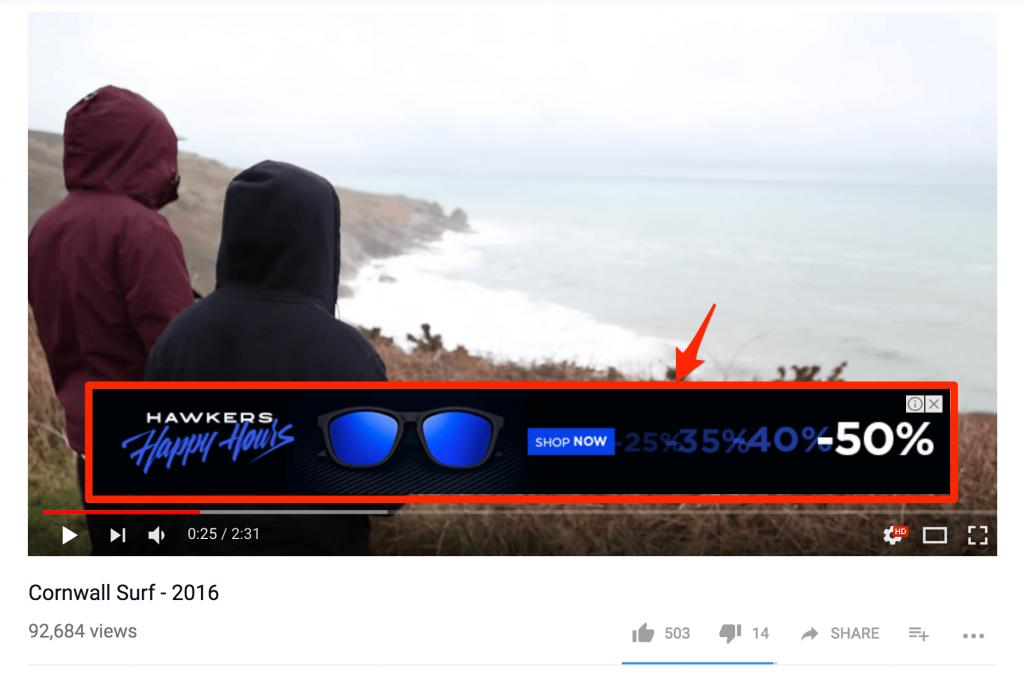 Что такое оверлейная реклама на YouTube