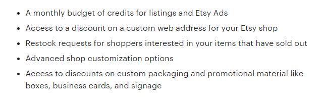 Подписка на Etsy Plus стоит 10 долларов в месяц и предоставляет продавцам следующие возможности и льготы